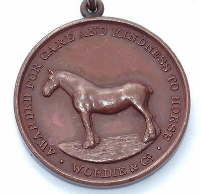 Antique Bronze Medal Awarded For Care & Kindness To Horses Wordie & Co - Lot 165