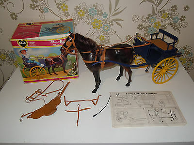 Vintage Boxed Sindy 44519 Gig and Harness with Brown Horse by Pedigree
