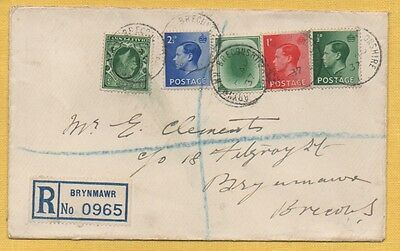 KGV & EDVIII 1937 LOCAL BRYNMAWR REGISTERED Cover Including POACHED EGG Stamp