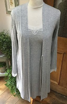 NEW - White Company Lace Trim Robe/Dressing Gown - Size XS (8)