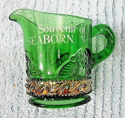 1900's Seaborn ND North Dakota Green Flash Clear Pattern Glass Pitcher FREE S/H