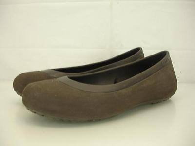 423f22306 Womens 8 M Crocs Mammoth Fuzzy Footbed Espresso Brown Ballet Flats Shoes  Slip-On