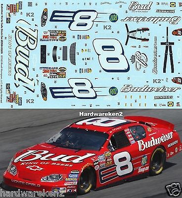 NASCAR DECAL # 8 BUDWEISER 2005 MONTE CARLO DALE EARNHARDT Jr. 1/24 Scale