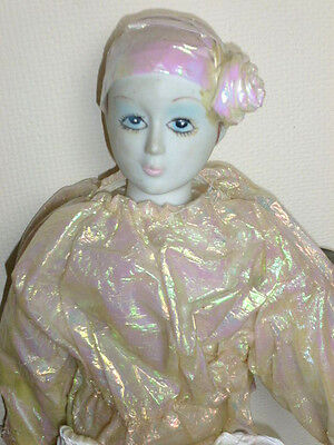 FEMALE CLOWN PIERROT HARLEQUIN VINTAGE DOLL, PRObably 80's