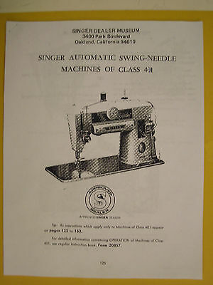 ''must Have'' Shop/repair Manual For Singer Models 401 And 401A