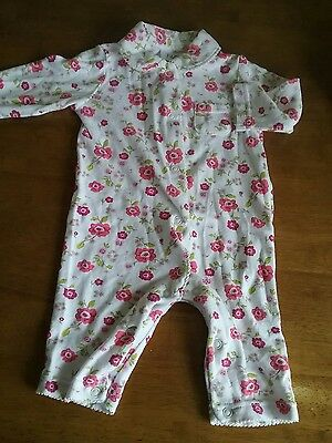 pink  white floral baby girl cotton footless sleepsuit baby gro 0-3 months