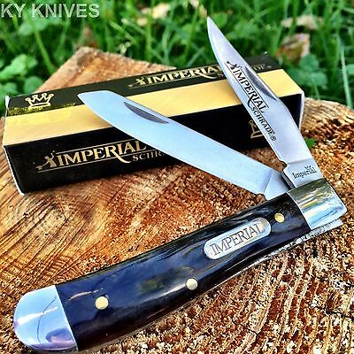 "Imperial SCHRADE Black Marble 3 1/2"" Medium Trapper Pocket Knife New! IMP16T-S"