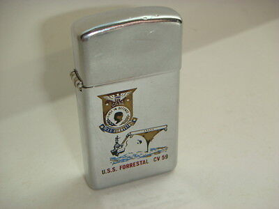 Older USS Forrestal CV 59 Zippo Lighter Embossed First In Defense Bradford PA