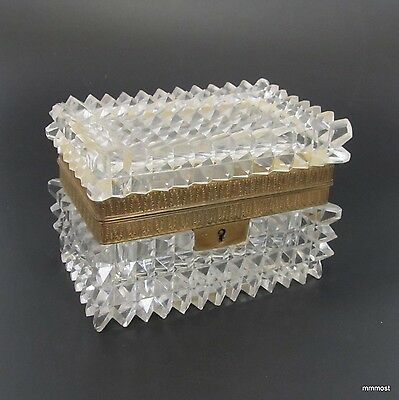 French Antique Diamond Point Cut Crystal Hinged Jewelry Casket Victorian Box