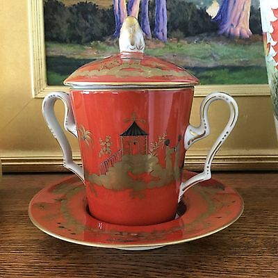 Rare Tiffany & Co Private Stock Le Tallec Coral Chinois Jar with Underplate