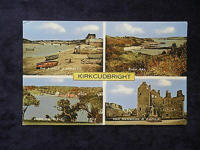 VINTAGE 1960s SCOTTISH POSTCARD OF KIRKCUDBRIGHT, DOON BAY, WAR MEMORIAL, STELL