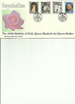 Seychelles - The 100Th Birthday Of H.m. Queen Elizabeth The Queen Mother - Fdc