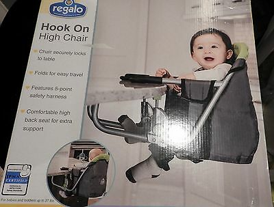 New Regalo Hook On High Chair /travel/ Folds / 5 Pt Safety Harness / Up To 37 Lb