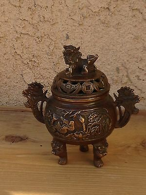 Antique Asian Bronze Incense Burner Foo Dog Signed