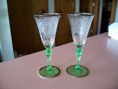 Tiffin green to crystal Dancing Nymph platinum rimmed 2 oz stems