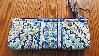 Retired Vera Bradley Capri Blue Brush, Makeup Or Pencil Case / Plastic Lined Euc
