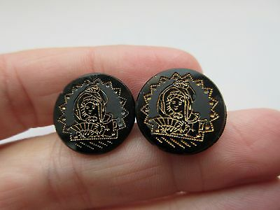 Gorgeous Lot of 2 Antique Victorian Black GLASS Picture BUTTONS Girl w/ Hand Fan