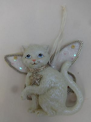 White Cat Angel Ornament With Mesh Wings Sparkly Collar And Star - Ksa, Inc.