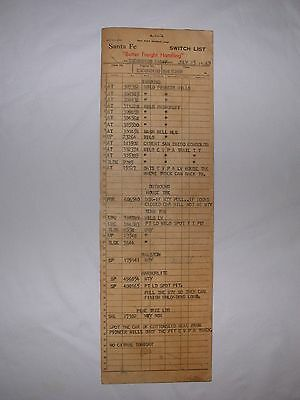 Santa Fe RR Switch List Form 818-A Large from Escondido Calif on July 25, 1969