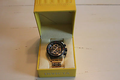 Invicta 17206 Men's Aviator Black Dial Gold Plated STAINLESS Watch 100M WATER RE