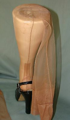 "Remarkable VTG Unworn Ring Clear Seamed Stockings~10-33""~Cuban Heel~60-15~Beige"