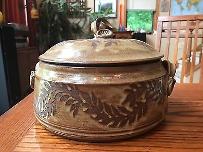 Covered Casserole Dish Pottery signed Hamilton Handles Heavy 4 Qt Gorgeous