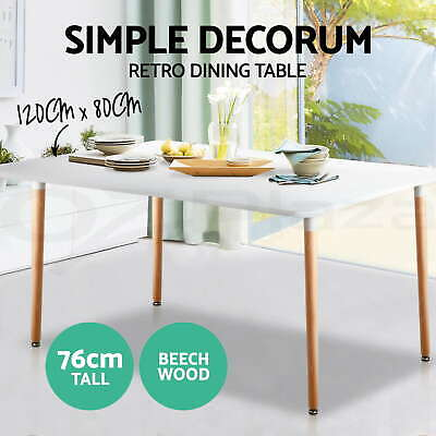 120x80CM Replica Eames DSW Eiffel Cafe Dining Table Kitchen Chair Wooden White