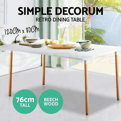 Artiss 120x80CM Replica Eames DSW Eiffel Cafe Dining Table Kitchen Chairs White