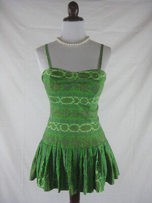 Vtg 50s Rose Marie Reid Womens Vintage Green Cotton Pin Up Bathing Swim Suit w26