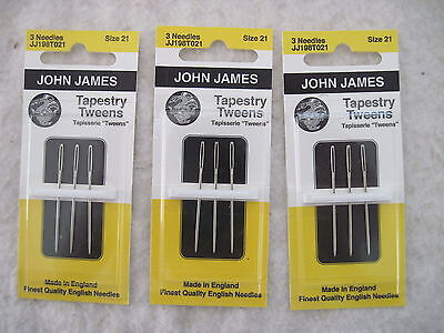Lot of 3 cards (9 needles) John James TAPESTRY TWEENS Size 21 Needlepoint