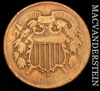 1864 Two Cent- Scarce !! Better Date !!  #u209