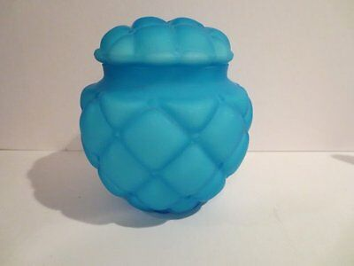 Victorian Consolidated Diamond Quilted Satin Blue Art Glass Biscuit Cracker Jar
