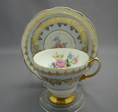 E Brain Foley English Bone Tea Cup & Saucer BABY BLUE w/ PINK ROSES GOLD LEAF