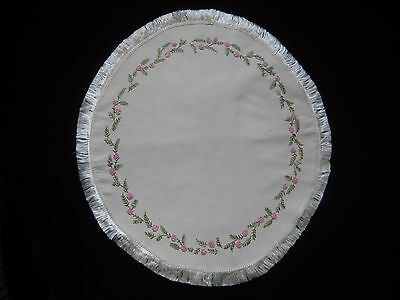 Antique ARTS & CRAFTS Hand Embroidered Silk Fringe Doily Centerpiece Pink Roses