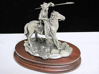 1980 Donald POLLAND Pewter DOG SOLDIER Statue Chilmark Indian
