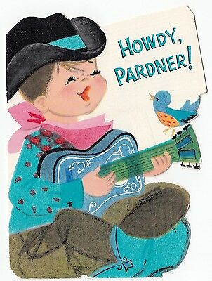 Vintage Greeting Card Birthday Little Boy Cowboy Guitar Bird Hallmark Die-Cut
