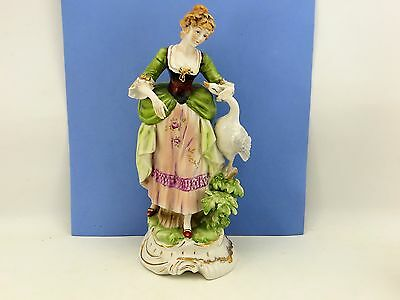 """Antique Hand Painted Figurine Lady with Goose 12"""" Tall French? Unmarked"""