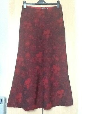M&S Maxi skirt Red And Black Floral uk size 10