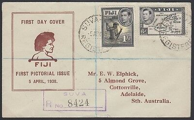 FIJI, 1938. First Day Covers (2), 117-120, 125,127, Suva - Adelaide