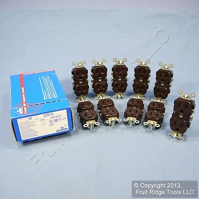 10 Leviton Brown COMMERCIAL Outlet Duplex Power Receptacles 5-15R 15A 125V CR15