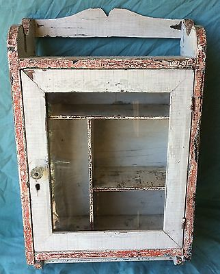 Vintage Beautiful Shabby Chic Medicine Curio Cabinet with Towel Rack