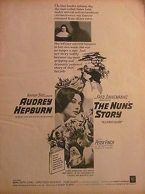 The Nun's Story, Audrey Hepburn, Full Page Vintage Promotional Ad