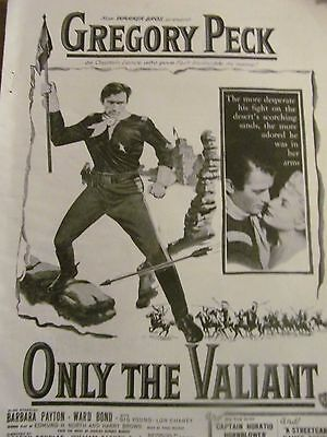 Only the Valiant, Gregory Peck, Full Page Vintage Promotional Ad