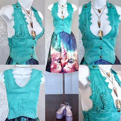 Vintage Retro 1980s green denim jean vest tank top sleeveless