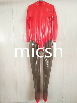 Latex Rubber Rad and Smoke Gray Catsuit Suit Tights Bodysuit Size XS~XXL