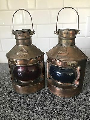 Port Starboard Ships Lantern Lights Oil Lamp Pair Set Red Blue