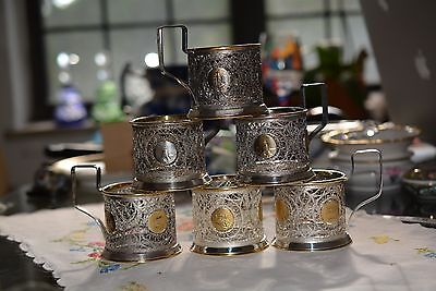 6 Vintage Russian Podstakannik  Filigree Tea Cup Holder Stamped Commet