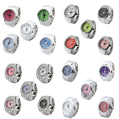 ladies Stainless Steel Random Digits Crystal Finger Ring Watches Jewelry