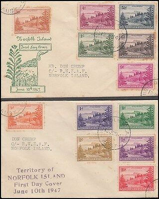 NORFOLK ISLAND 1947 BALL BAY FDC's (x2) SET (x12) STAMPS (ID:167/D45741)