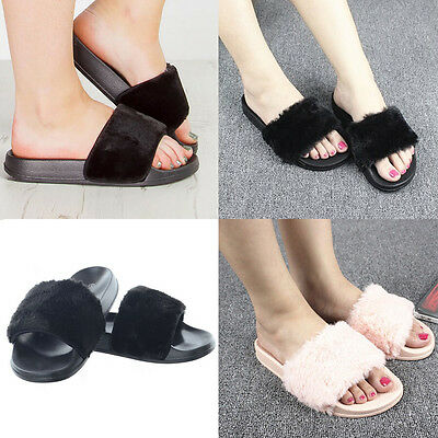 Women Slip On Flat Women Farrah Rubber Slider Mules Fur Slipper Sandals Shoes AN